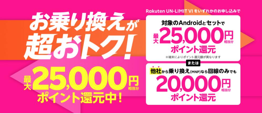楽天モバイルキャンペーン(2021/09)