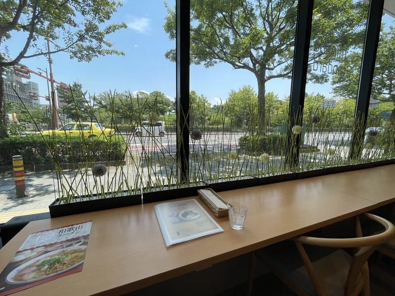 migiwa standard 店内から和歌山城を臨む
